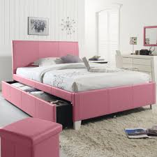 pink vinyl upholstered bed frame with sleigh drawer of full size