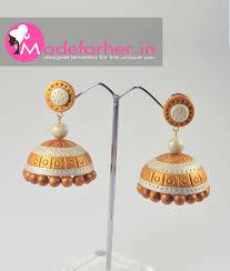 kerala earrings gold pearl white polymer clay jhumka kasavu saree kerala saree