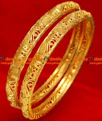2 6 size gold plated imitation bangle traditional kerala swan design