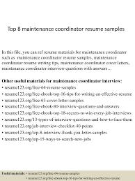 Building Maintenance Resume Samples Top8maintenancecoordinatorresumesamples 150404034035 Conversion Gate01 Thumbnail 4 Jpg Cb U003d1428136886