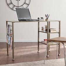 southern enterprises writing desk southern enterprises metalglass writing desk matte gold by office