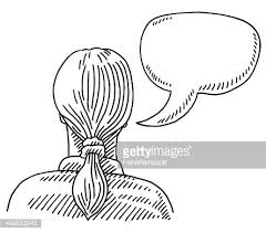woman back view speech bubble drawing vector art getty images