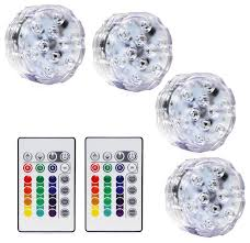 4 rgb submersible led lights battery powered accent lights with