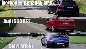 bmw vs audi race audi s3 vs bmw m135i vs mercedes a45
