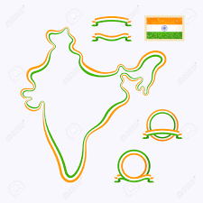Blank Map Of India by Outline Map Of India Border Is Marked With Ribbon In National