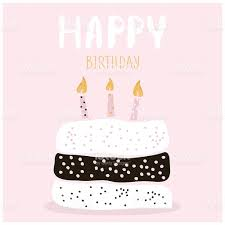 cute cake with happy birthday wish greeting card template stock