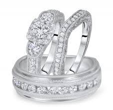 Trio Wedding Ring Sets by Carat T W Round Cut Diamond Matching Trio Wedding Ring Set 14k
