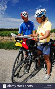 Provence France Map by Bicyclists Reading A Map Provence France Europe Stock Photo