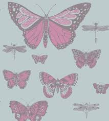 Wallpaper For Walls Teal And Pink Cole U0026 Son Butterflies U0026 Dragonflies Wallpaper