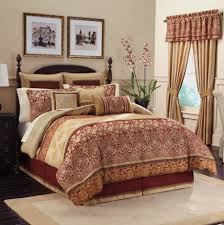golden red long curtains combined with cream red comforter bedding