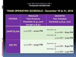 light rail holiday schedule list lrt mrt pnr schedule christmas holidays 2016 new year the