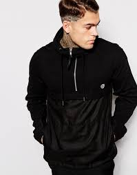 religion cut sew half zip hoodie with woven body where to buy