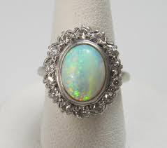vintage opal engagement rings vintage 14k white gold ring with a 2ct opal and 70cts in diamonds