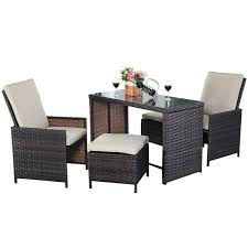 Patio Chair With Ottoman by Amazon Com Tangkula 5pcs Brown Cushioned Ottoman Rattan Patio Set