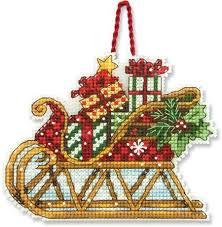 dimensions sleigh ornament cross stitch kit 70 08914
