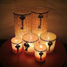 decorating glass candle holders glass candle tissue paper and key