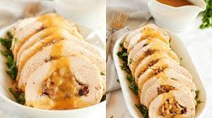 thanksgiving turkey and stuffing recipe roasted turkey breast with cranberry bacon stuffing recipe youtube