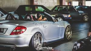 bagged mercedes benz slk gettinlow gettinlow euro retro enthusiast halal bi halal morning ride