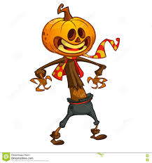 halloween cartoon scarecrow with pumpkin head vector cartoon