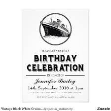 60th Birthday Invitation Card Vintage Black White Cruise Ship Birthday 13 Cm X 18 Cm Invitation