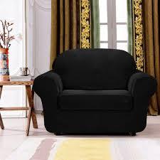 stretch sofa slipcover 2 piece subrtex 2 piece spandex stretch sofa slipcover chair black
