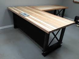 large l desk l shape iron crossbar and oak office desk metal wood furniture