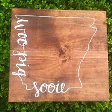 woo pig sooie arkansas razorbacks wooden sign ridgewood shop