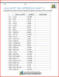 basic algebra worksheets