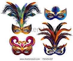 carnaval masks carnival masks icons set feather isolated stock vector 750404407