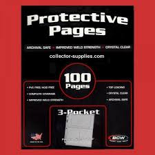 photo pages 4x6 supplies reference 100 bcw 3 pocket archival protective pages