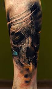 unique colored skull tattoo on shoulder real photo pictures