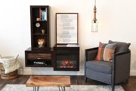 modern floating wall mount electric fireplace media console and