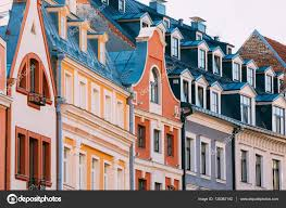 Dormer Building Riga Latvia Mansard Tile Roof With Four Gable Fronted Dormer