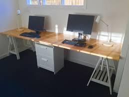 bureau b b ikea home office desk made from two ikea gerton beech table tops