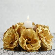 Candle Rings 8 Pack Of Artificial Gold Candle Rings Wedding Centerpiece