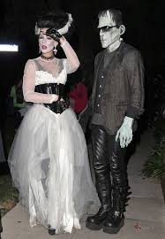of frankenstein costume kate beckinsale and husband in disguised frankenstein and of