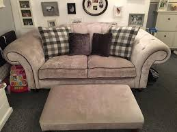 Grey Silver Sofa Chesterfield Button Back Sofa 3 Piece Suite Grey Silver Crushed