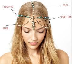chain headband boho handmade rhinestone blue pearl gold chain headband