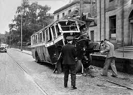 row bus and lamp post crash 1948