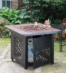 Firepit Gas Propane Gas Pit With Tile Mantel Outdoor Pits