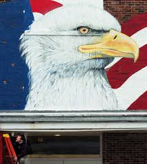 Bald Eagle On Flag Artist Paints Patriotic Mural At Planned Maine Veterans Museum In