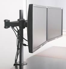dual monitor desk mount computer flat screen two lcd stand arms