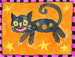 halloween cats folk art cat painting art projects for kids