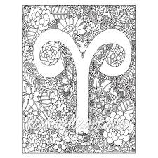 astro sign instant digital download adult coloring page astro sign aries