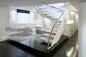 Modern Banister Modern White Staircase With Glass Banister Stock Photo