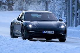 new porsche electric porsche mission e spotted testing in winter conditions auto express