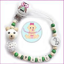 perle en bois pour attache tetine attache tetine bois pas cher motif ourson blanc prénom bébé offert