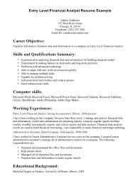 Resume Summary Of Qualifications General Entry Level Resume Objective Examples Career Objective