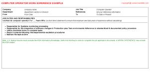 Production Operator Job Description Resume by Computer Operator Job Title Docs