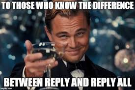 to those who know the difference between reply and reply all meme